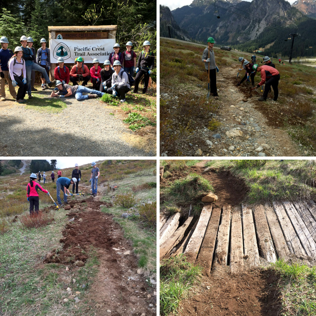 Students from Bellevue College's Wilderness Skills Certificate program volunteer on the Pacific Crest Trail.