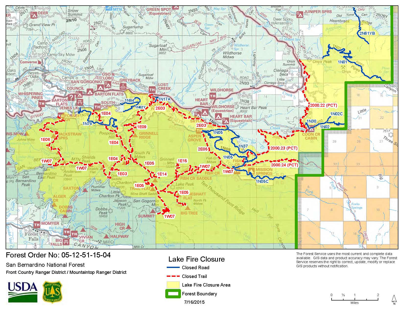 Lake Fire closure map published 7/16/15.