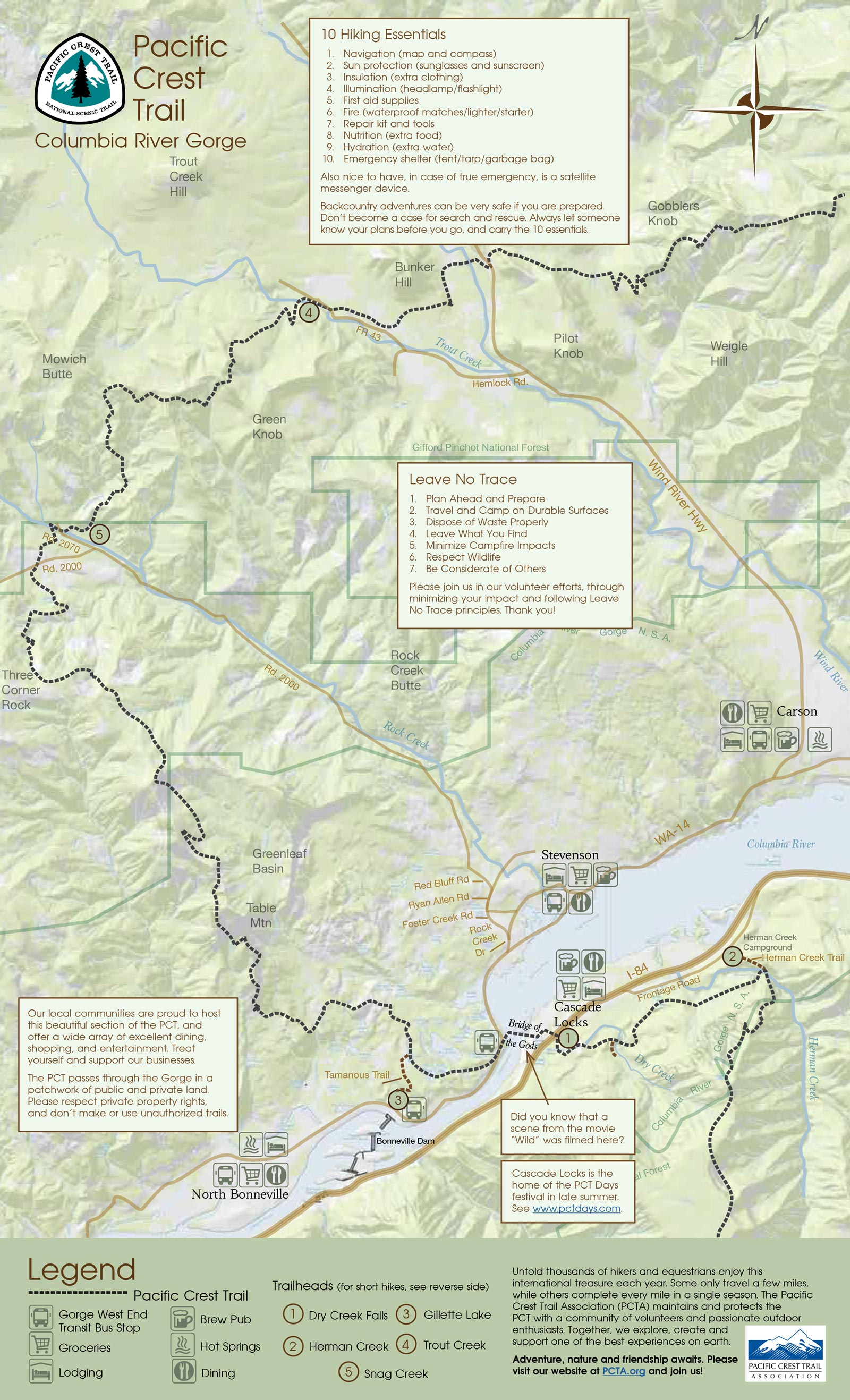 Free map of Pacific Crest Trail in Columbia River Gorge
