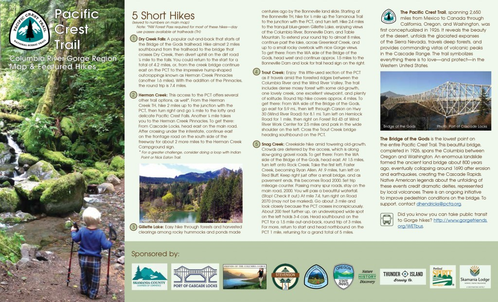Download the back side of this free map of the Pacific Crest Trail in the Columbia River Gorge. Click here for a high resolution .jpg and here for a high resolution PDF.