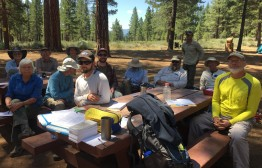 Class time at the Trail Skills College. It's remarkable how much there is to learn about the Pacific Crest Trail. This was our Intro to Scouting and Adopting sections of the PCT.