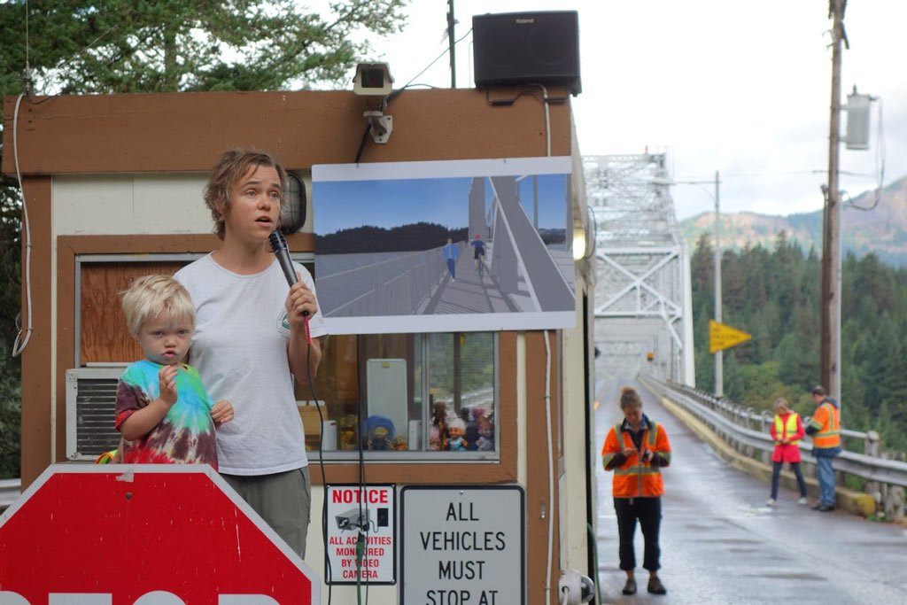 Saturday morning started with Bridge Walk. Here, Dana Hendricks (PCTA's Columbia Cascades Regional Representative) and her son Gus, great the crowd of hundreds on the Birdge of the Gods.
