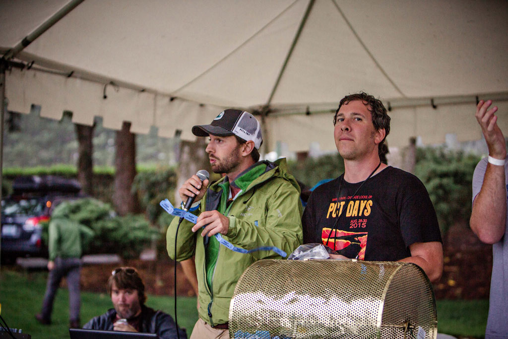 Jack Haskel, left, asks for your support, and thanks those of you that do, during the raffle. Jason Waicunas is on the right. Photo: Gray Feather Photography