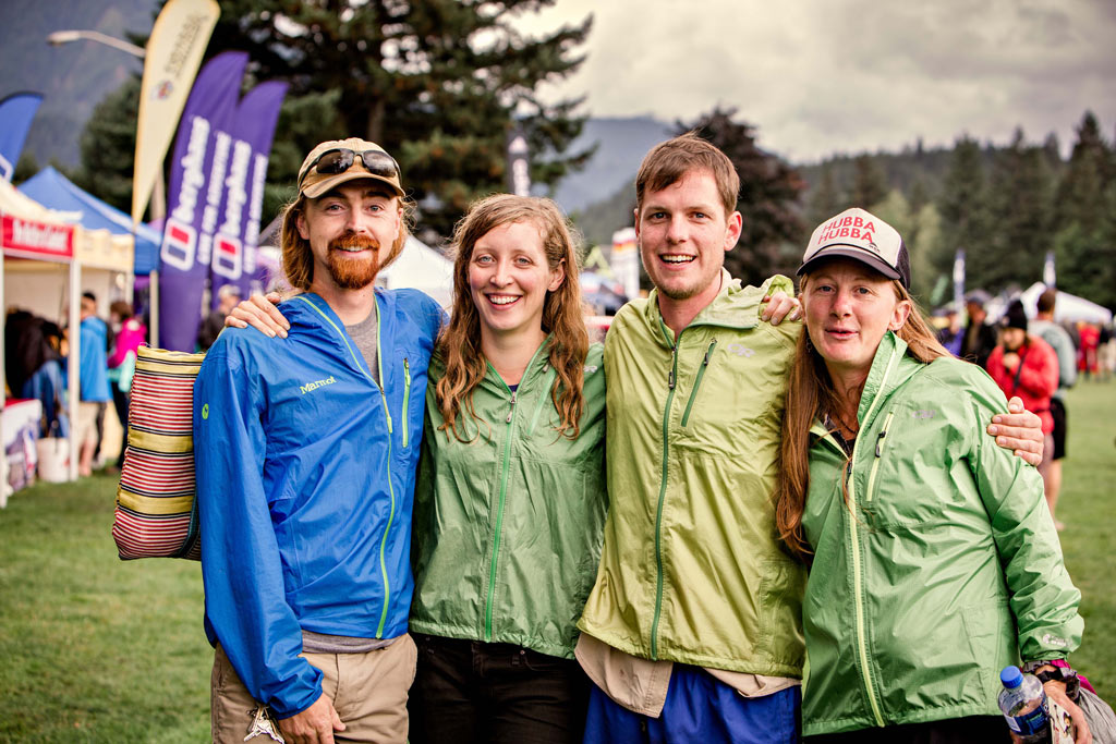 Friends reunite at PCT Days. Photo by Gray Feather Photography