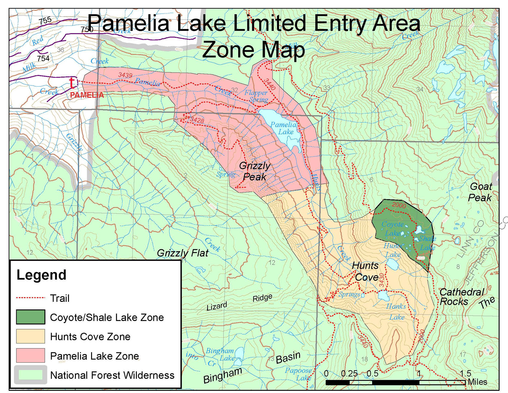 The Pacific Crest Trail passes through the green zone in the Pamelia Lake Limited Entry Area. You'll need a special permit to camp there.
