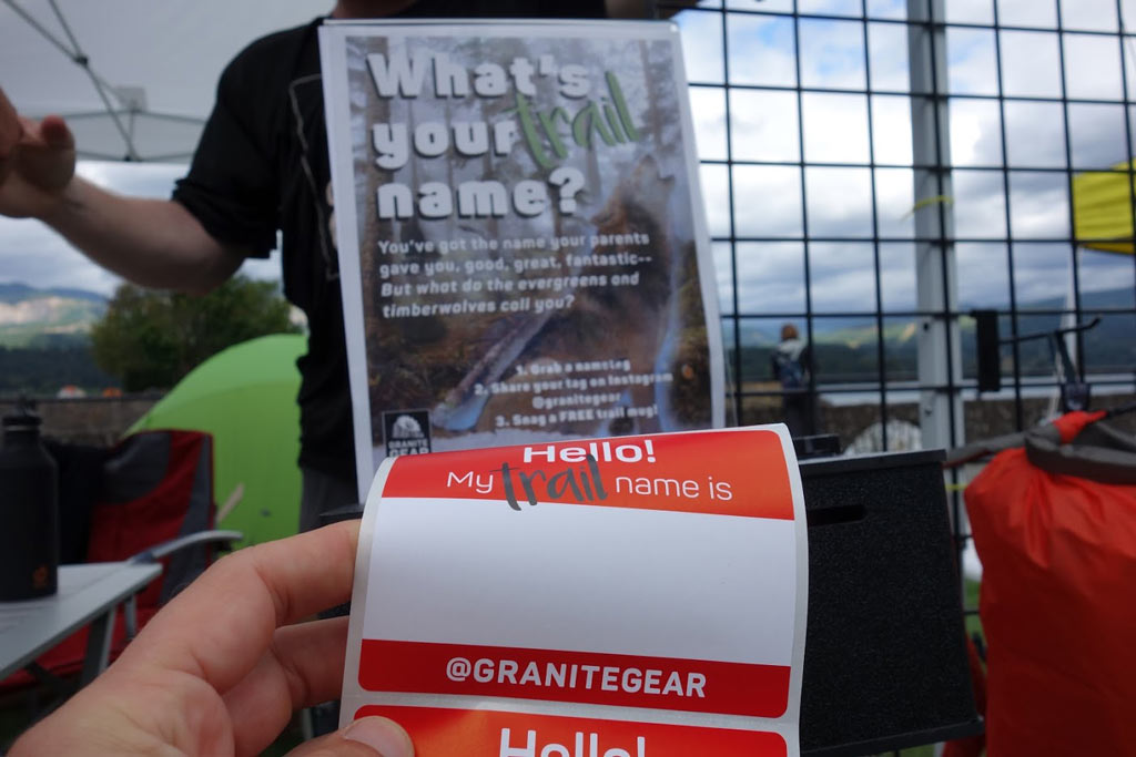 Granite Gear had these fun name badges and were giving away backpacks and fanny packs like crazy.
