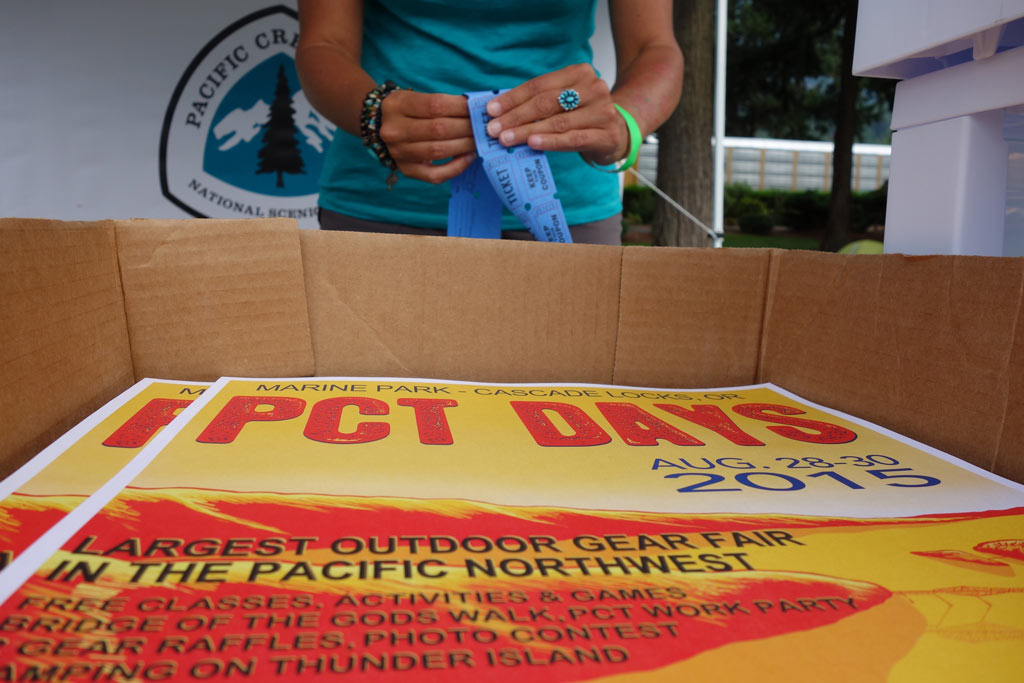 The raffle ticket booth at PCT Days raised important funds for the Pacific Crest Trail.
