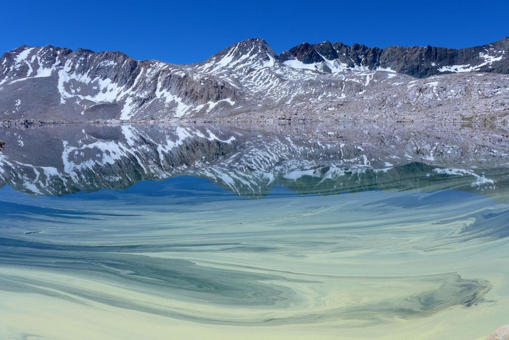 Pollen paints the glassy surface of Wanda Lake on a clear, brilliant July day. Photo by: Melody Shah