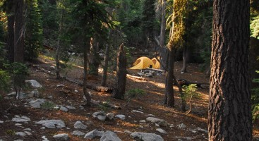 A morning campsite on the Pacific Crest Trail