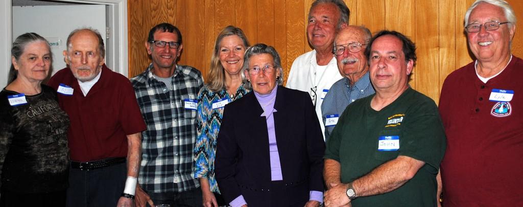 Left to Right: Edwina Golightly, Al Golightly, Dave Fleischman, Liz Bergeron, Doris Peddy, Jerry Stone, Pete Fish, John Hachey, and Lyle Boulter.