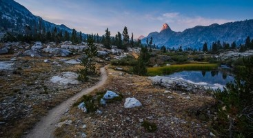 Fin Dome in Kings Canyon National Park. The Pacific Crest Trail/John Muir Trail winding away.