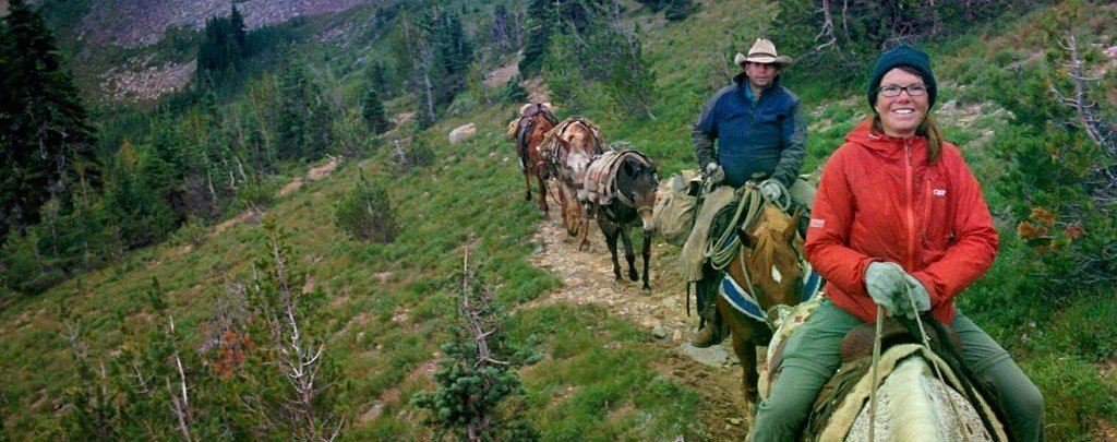 Carolyn met a couple of horsepackers with a spare saddle horse, and they kindly let me ride the 13 miles into White Pass, WA. Best hitch of the hike. Photo by Carolyn Tepolt.