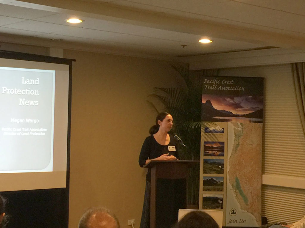 Megan Wargo describing PCTA's land protection work.