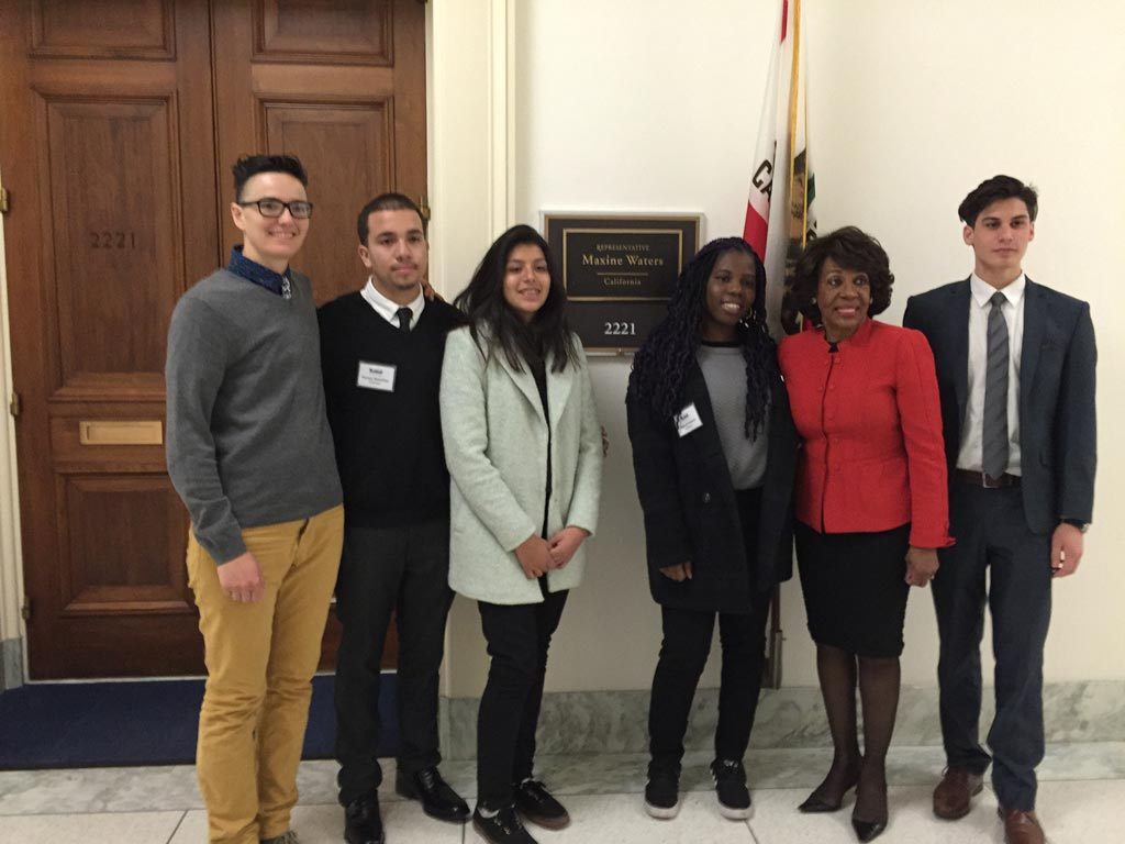 ECHS students and their teacher with Congresswoman Maxine Waters of California's 43rd district.
