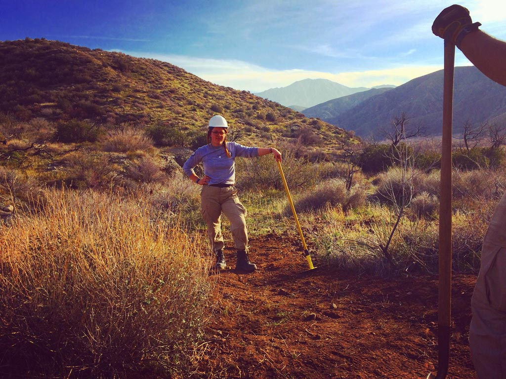 Sophia working on the Pacific Crest Trail.