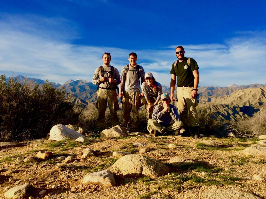 The team taking a hike in Whitewater Preserve.