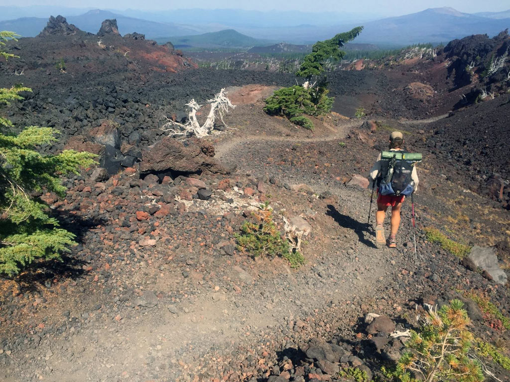 The surreal lava fields of the Pacific Crest Trail in central Oregon.