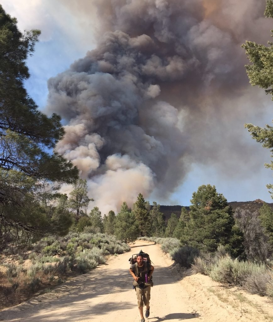 PCT thru-hikers sprint away from the Chimney Fire on June 1. Be safe! Photo by Elliot Schwimmer