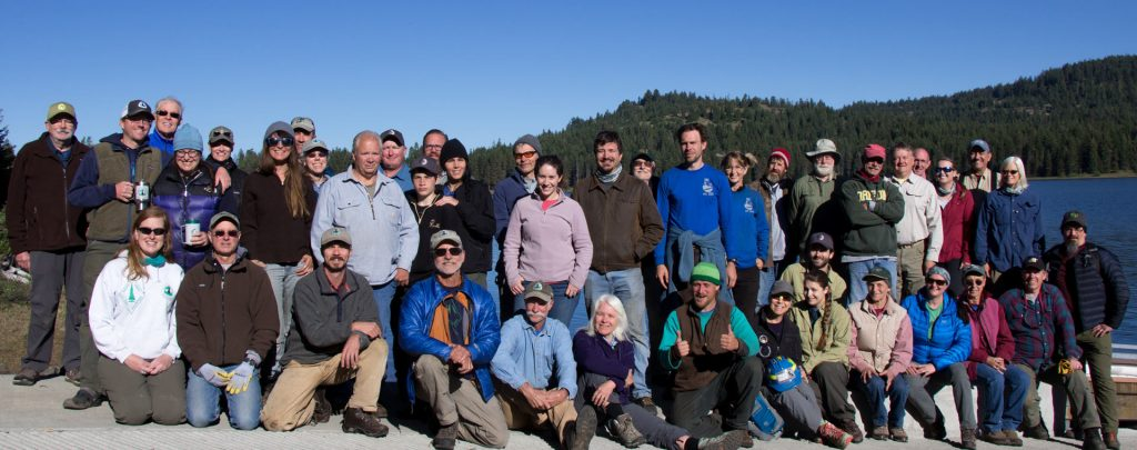 45 volunteers gathered on the shores of Hyatt Lake for the Big Bend Trail Skills College near Ashland, Oregon. Photo by Joe Smith.