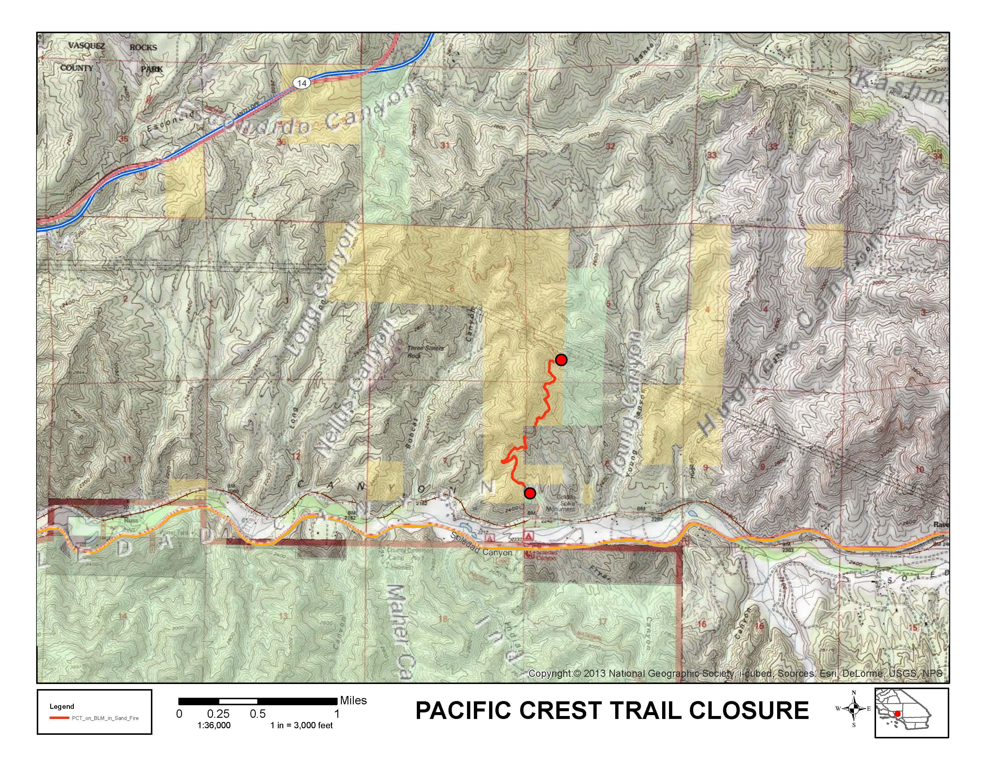 BLM Sand Fire closure map