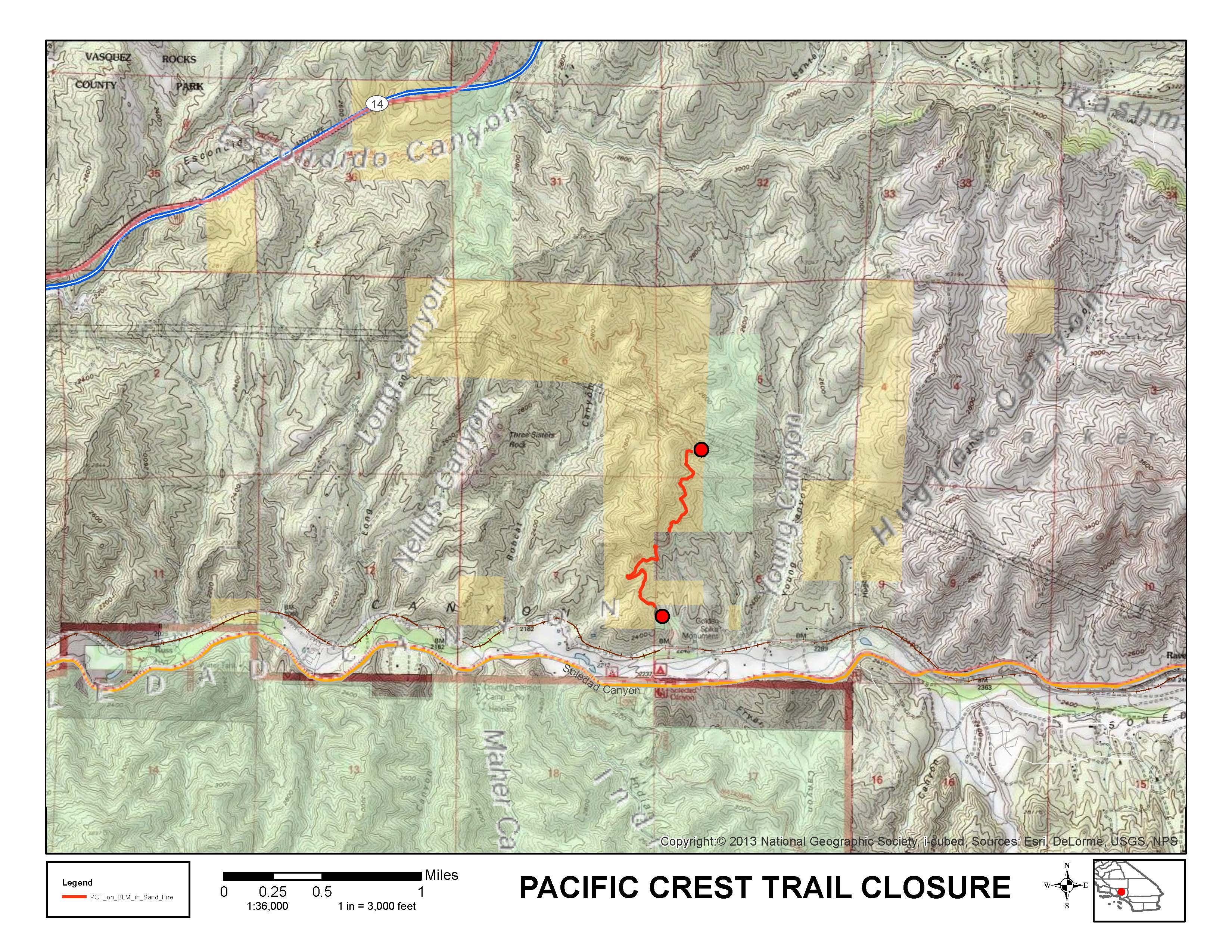 BLM Sand Fire closure map