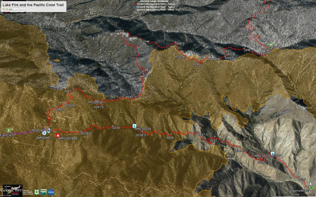 Lake Fire and the Pacific Crest Trail