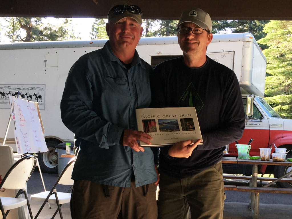 Mick Mc Bride was presented with the 2015 Regional Trail Maintainer Award for the Big Bend region. PCTA's Big Bend Regional Representative Ian Nelson thanked Mick for his active leadership in the founding of PCTA's local Southern Oregon Rockers volunteer group.