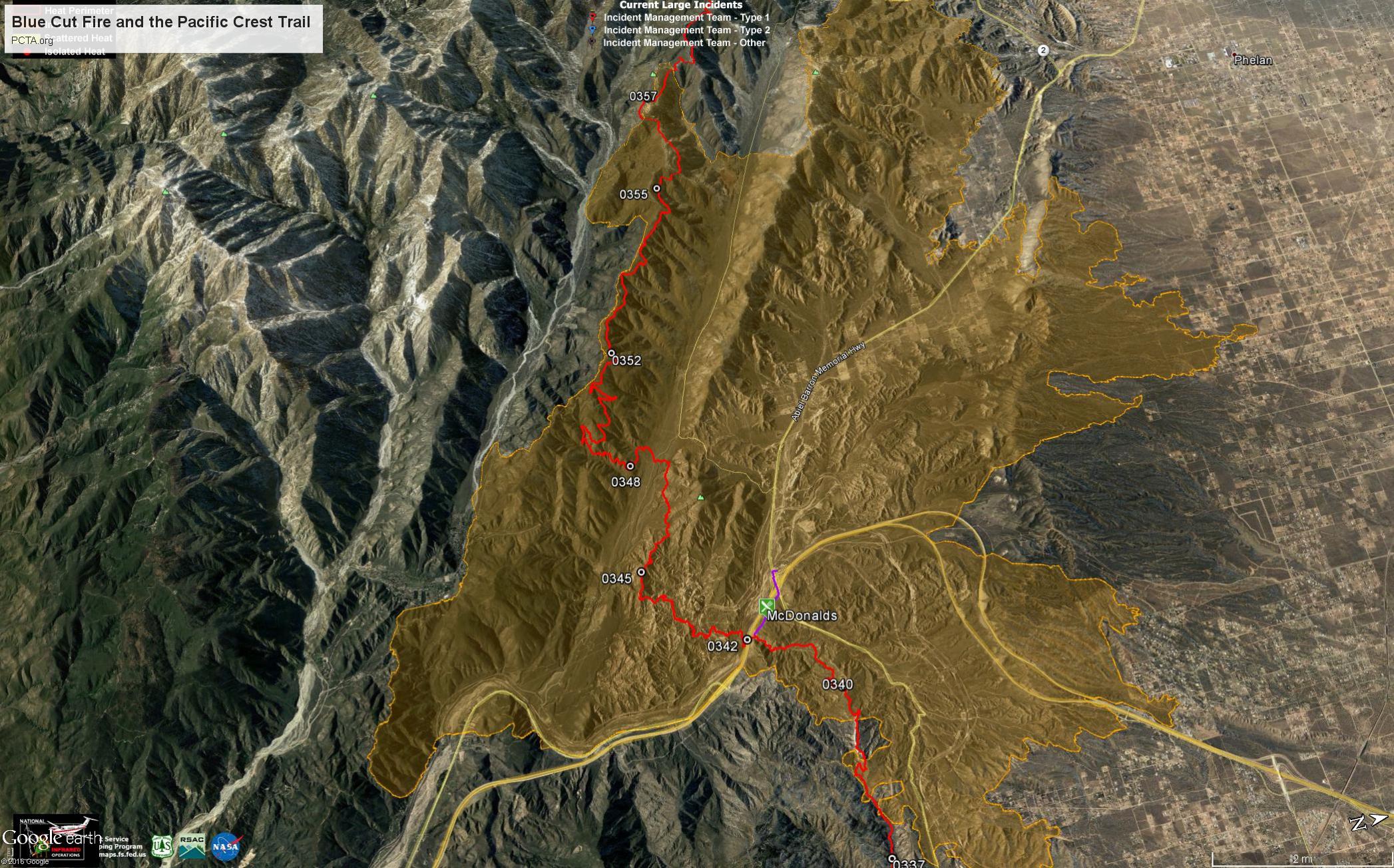 Cajon Pass Fire Map.Blue Cut Fire In Cajon Pass Pacific Crest Trail Association