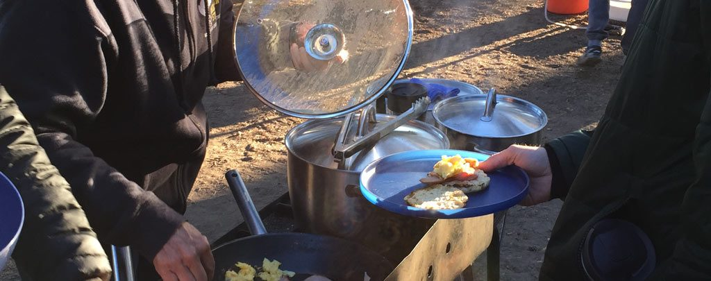 A good camp cooking breakfast gets us started.