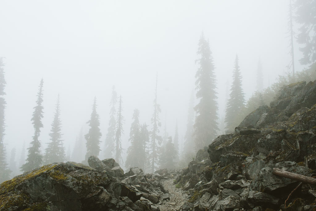 The Pacific Crest Trail disappears into the fog. Photo by Vincent Carabeo/Uphill Designs.