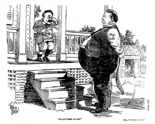 1909 cartoon with Gifford Pinchot crying with Taft.