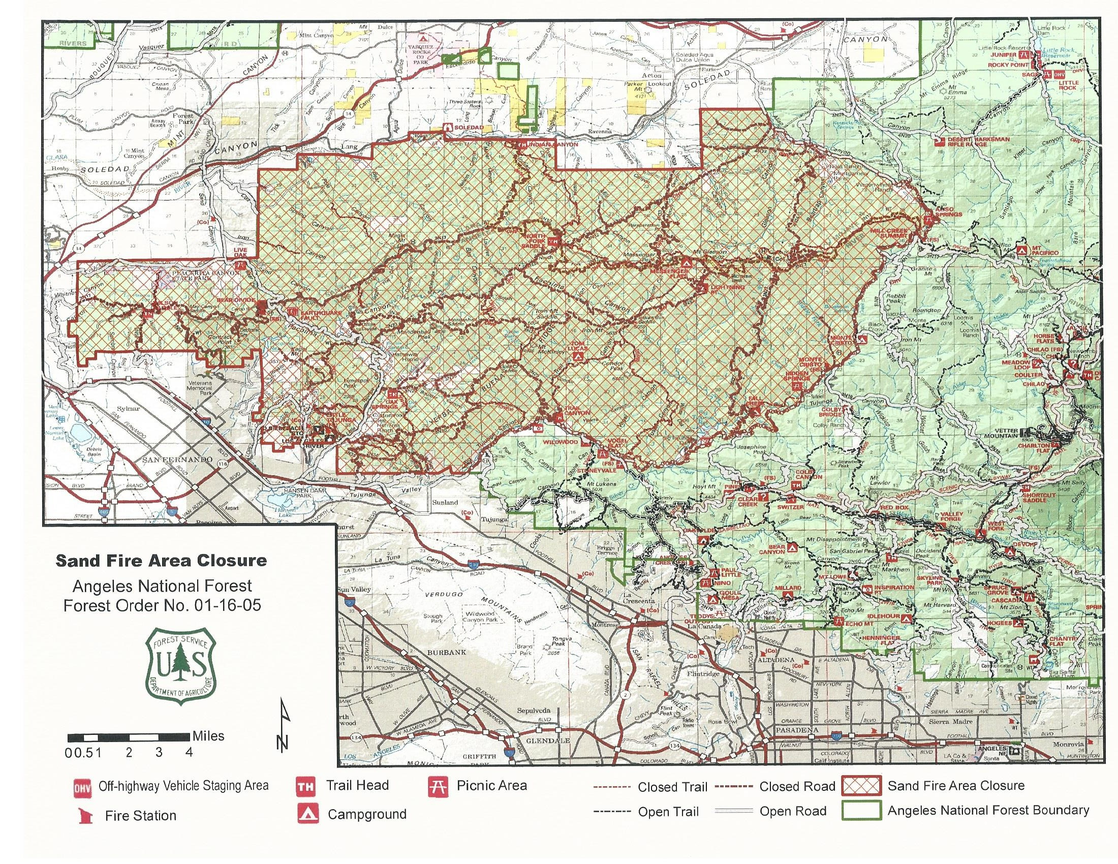 The Angeles National Forest Sand Fire closure area.