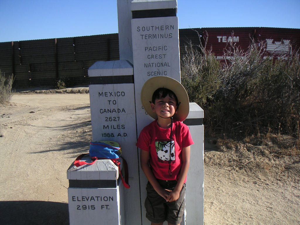WIth one of my favorite hiking partners at the old southern terminus monument near Campo, California.