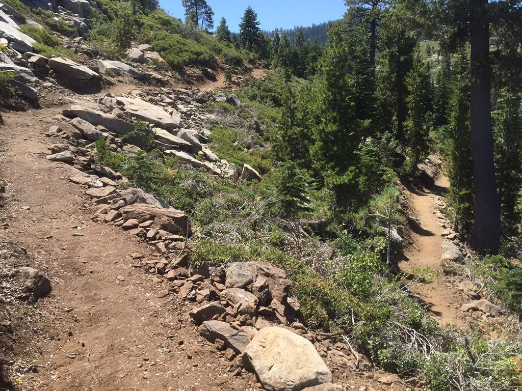 Two legs of a newly constructed switchback.