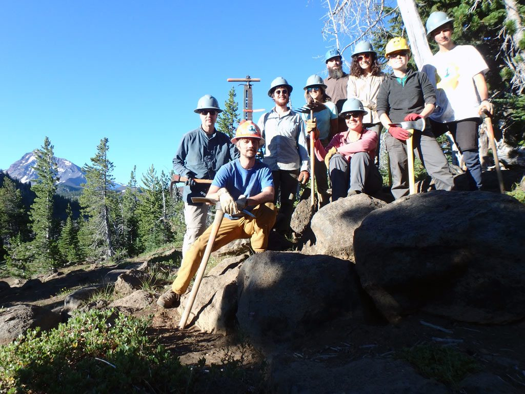 Skyline crewmembers in the Three Sisters Wilderness, from left: Ken Geib, Justin Brimer, Fletcher Medeama, Cye Sheller, Bryant Hampton, Mindy Williams, Rachel Corrigan, Holly Schnee and Ian Connelly