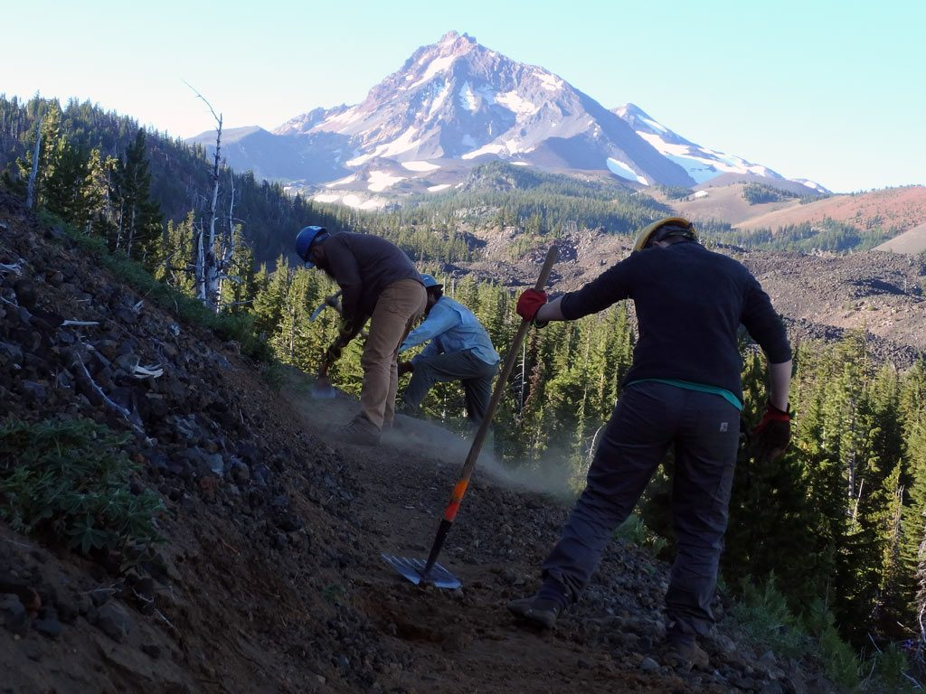 Repairing damaged tread near North Sister during a volunteer vacation Aug. 5-11.