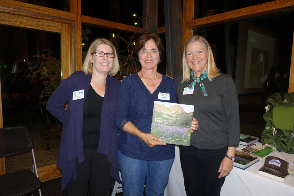 "Liz Bergeron, right, and PCTA Annual Fund Manager Shari Hansen, left, present Peggy Porto with PCTA's Lifetime Achievement Award."" Photo by: PCTA Director of Philanthropy Angie Williamson"