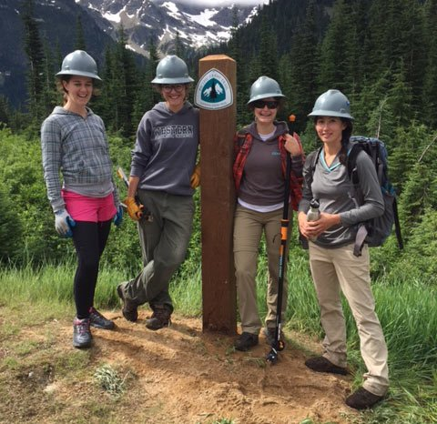 A new trail marker at Rainy Pass. Photo by Bill Hawley