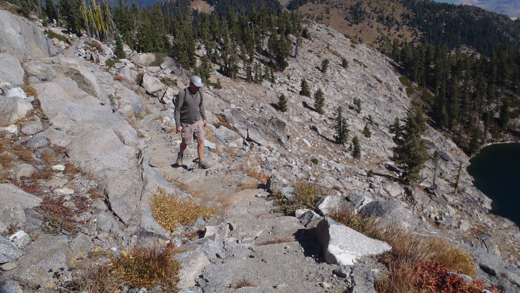 Here I am hiking up the PCT. Even if I wanted to, I can't stop myself from investigating the tread's quality the the trail structures that I walk over.