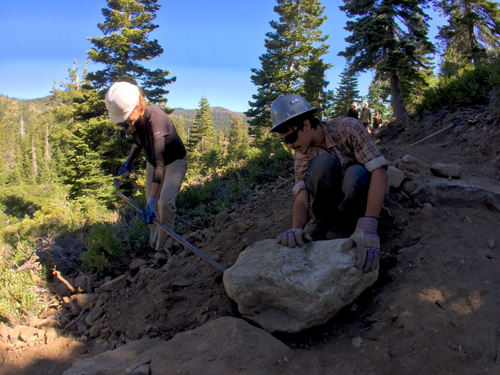 Jacqui Ogle and Sabi Rivera working on the new section of PCT that's being built in the Sierra Buttes.
