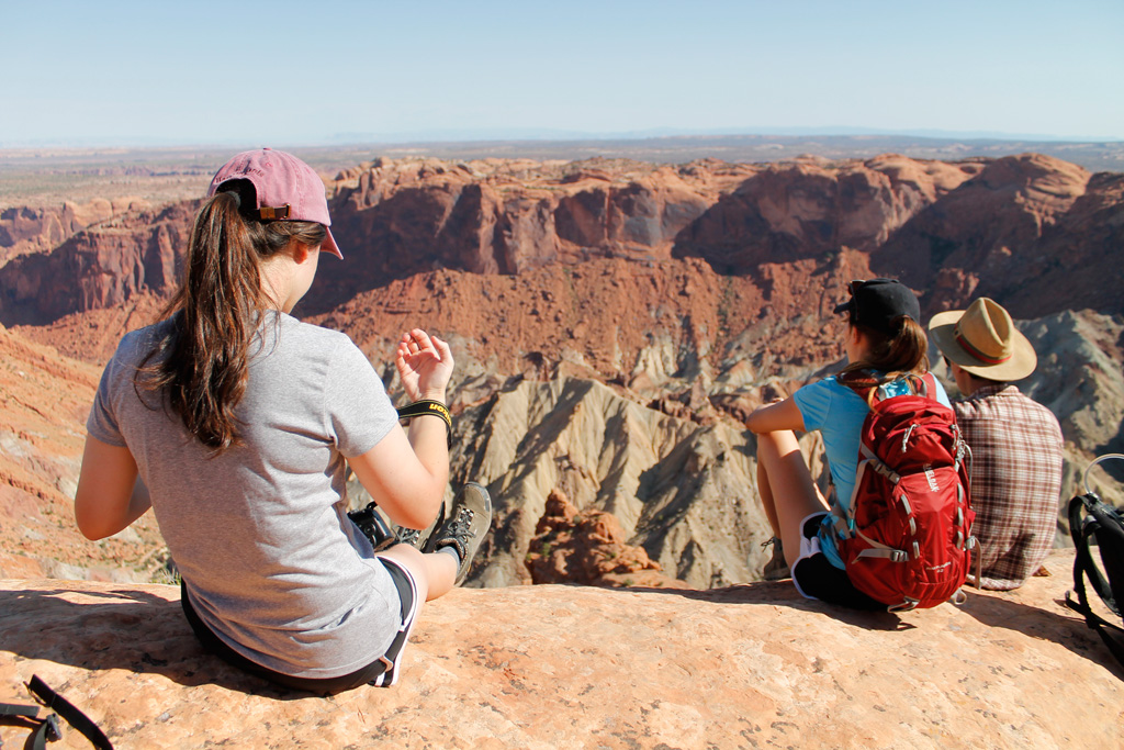 We stopped to hike in the Islands in the Sky district of Canyonlands National Park. Brenna Hurst, Jacqui Ogle and Sabi Rivera.