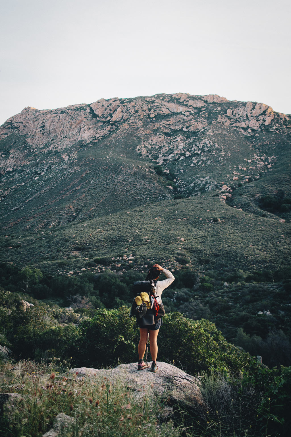 The early days of the PCT. Hiking across Southern California was a new and mind expanding experience. Here I am. Photo by Karen Wang