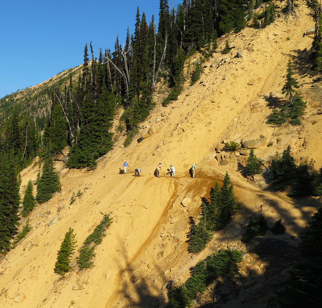 Bump and her volunteers spent a week rebuilding a washed out section of trail in Washington. Photo by Loren Schmidt