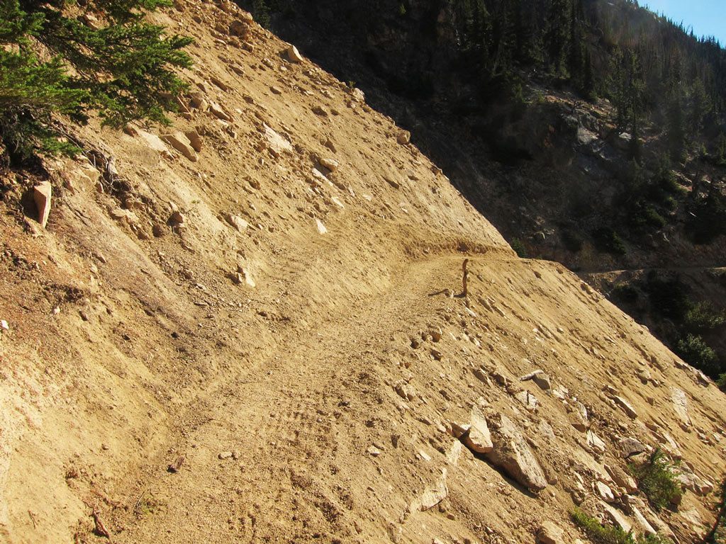 Volunteers spent a week widening and stabilizing a section of trail that was too dangerous for horses to travel. Photo by Loren Schmidt.