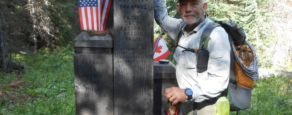 At the northern terminus of the Pacific Crest Trail.