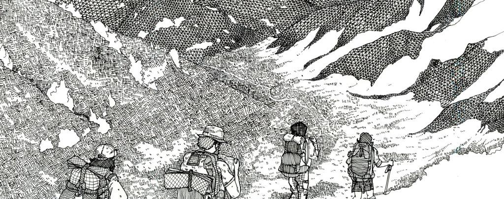 Pacific-Crest-Trail-art-of-thruhikers-walking-by-Ryosuke-Sketch-Kawato-