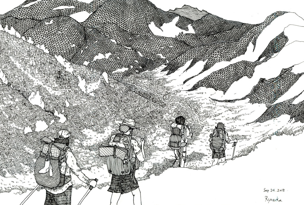 Pacific-Crest-Trail-art-of-thruhikers-walking-by-Ryosuke-Sketch-Kawato-