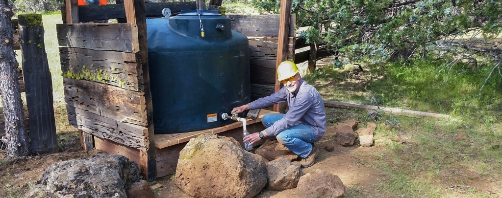 The new water tank is a long-term solution for hikers traversing California's dry Hat Creek Rim