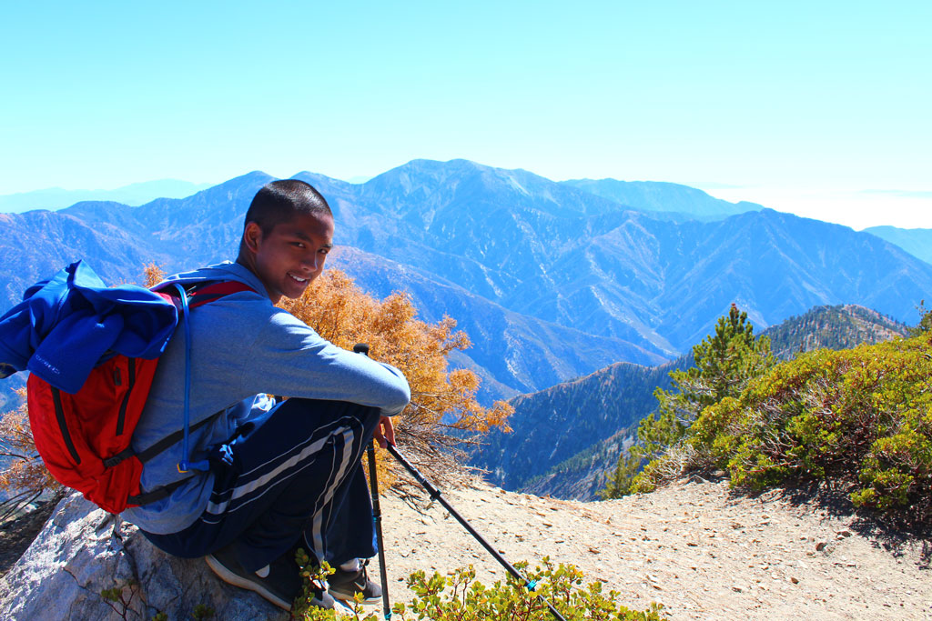 Kyle Ignacio on Mount Baden Powell. Photo by Mara Geraldine.