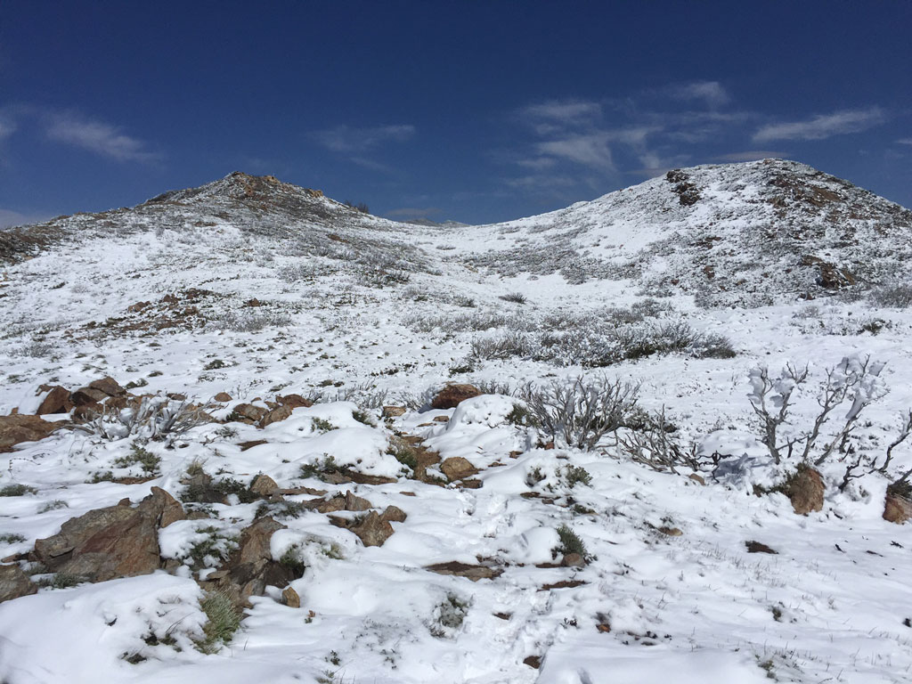 snow in the desert on the pacific crest trail